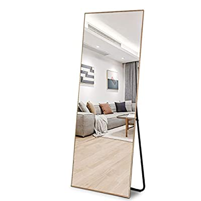 ZHOWI Floor Mirror Full Length Large Full Body Size Stand up Standing Wall Mounted Mirrors Bedroom Bathroom Décor Metal Frame (Gold, 65x22in) - FLOOR MIRROR SIZE: Length: 65in, Width: 22in. Perfectly sized to fit an average-sized person and give you a full-body view, and it is a good size to place it in almost any room, suitable for bedrooms, bathrooms, living rooms, and entryways. GOOD PACKING & HIGH-QUALITY GLASS AND MIRROR FRAME: We use multiple packing materials to pack the floor mirror extremely well to avoid any damages during transit. The floor mirror glass thickness is 0.2in (5mm). HD glass floor mirror: High-definition and 1:1 real reflection with no distortion and imperfections. The frame of the floor mirror is made of anti-rust aluminum alloy making it both durable and sturdy. STANDING & WALL MOUNTED & LEAN AGAINST THE WALL: The floor mirror is standing and can stand everywhere. The floor mirror can be leaned against the wall anywhere. The mirror can also be hung on the wall horizontally or vertically to save floor space. - mirrors-bedroom-decor, bedroom-decor, bedroom - 41QiQwBlBSL. SS400  -