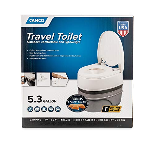 Camco Premium Portable Travel Toilet With Three Directional Flush and Swivel Dumping Elbow | Designed for Camping, RV, Boating And Other Recreational Activities - (5.3 gallon) (41545),White