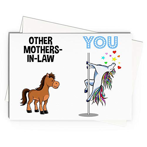 Mother in law Greeting Card Handmade Blank Funny Gifts For Birthday Best Present Idea Ever Unicorn Mother-In-Law Wedding Gift W-67W