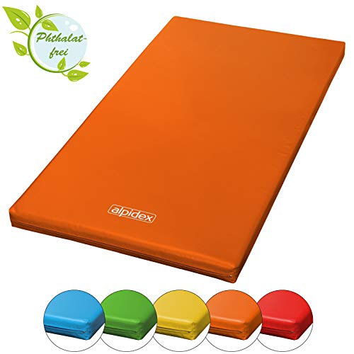 ALPIDEX Matte Turnmatte Sportmatte Gymnastikmatte 200 x 100 x 8 cm mit Antirutschboden RG 20 (sehr weich), Farbe:orange