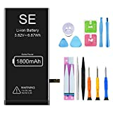 Battery for iPhone SE, HEGANUS New 0 Cycle Higher Capacity Battery Replacement for iPhone 6 with Complete Professional Repair Tools Kits (SE)