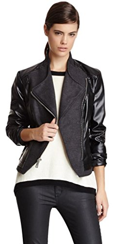 Kenneth Cole Faux Leather Biker Jacket, M, Grey
