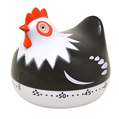 VEADK Küchentimer Küchenhelfer Countdown Kochen Uhr Werkzeuge ABS Küche Tier Timer manuelle mechanische Retro Kochen Timer Kids Toy Room Decor, schwarz