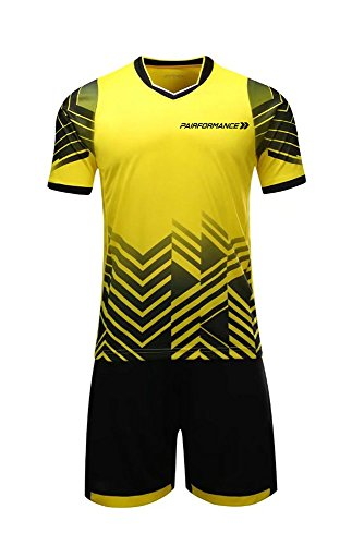 Soccer Jerseys for Kids Boys and Girls Shorts and T-Shirts Sports Wear Set (Large, Yellow)