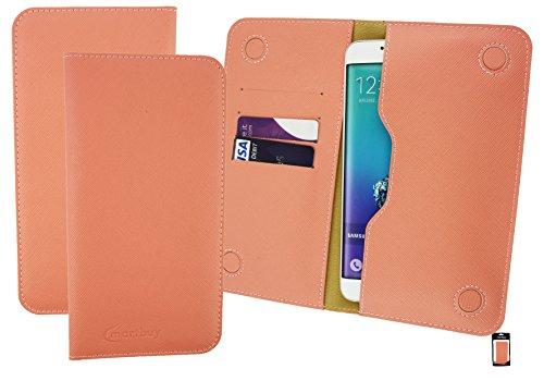 Emartbuy® Peach Strukturierter PU Leder Magnetisch Schlank Brieftasche Tasche Sleeve Halter (Größe 5XL) Geeignet Für Allview X3 Soul Plus
