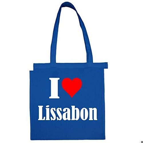 Tasche I Love Lissabon Größe 38x42 Farbe Grau Druck Schwarz