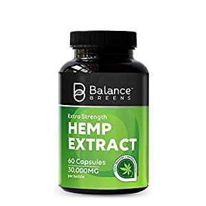 Balance Breens Hemp Extract Capsules 30,000 mg per Bottle- Natural Dietary Supplement for Pain, Stress & Anxiety Relief, Immune Support- Rich in Omega 3-6-9 Fatty Acids - 60 Capsules (1)