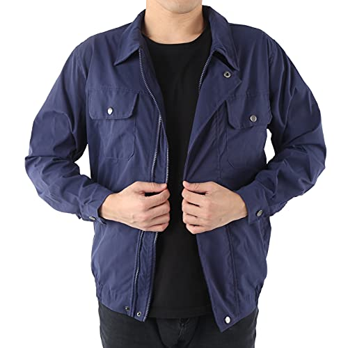 HIUF Sun‑Protcetive Coat, Summer Outdoor Cooling Fan Jacket Balance Convenient Quick Improve Work Efficiency for Construction(Blue, L/XL)