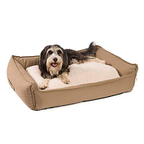 JAMAXX orthopädisches Hundebett - Memory Schaumstoff, Waschbar Wendekissen - Hundekissen mit Lammfell - Hundekorb Hundekörbchen Abnehmbarem Bezug Reissverschluss, PDB2008 (M) 90x70 Coffee-braun