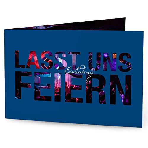 greetinks 60 x Einladungskarten für Geburtstag 'Feierfreude' in Blau | Personalisierte Geburtstagskarten zum selbst gestalten | 60 Stück Geburtstagseinladungen - Einladungen Party & Jugendweihe