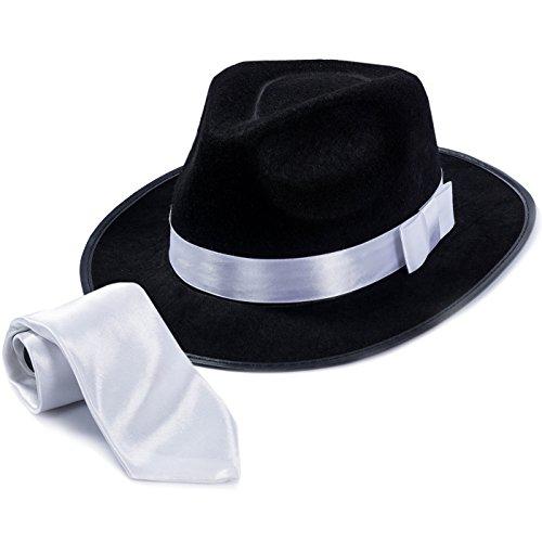 Tigerdoe Fedora Hat – Fedora Gangster Hat with White Tie – (2 Pc Set) 1920's Men's Accessories
