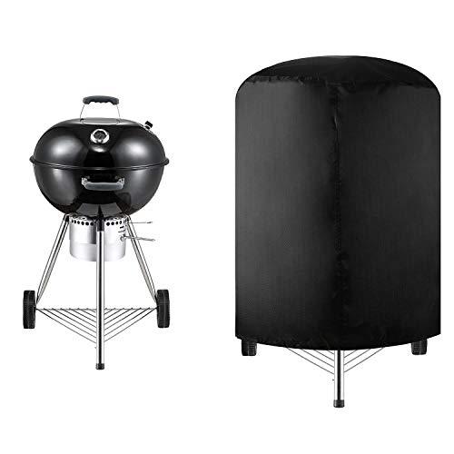 Copertura Barbecue Rotondo Copertura BBQ Impermeabile Resistente Alla Polvere Agli UV Tessuto Oxford Grill Anti Pioggia All'Aperto Pulizia Facile Grill Cover Per Grill Sferico, Nero (71*68Cm)