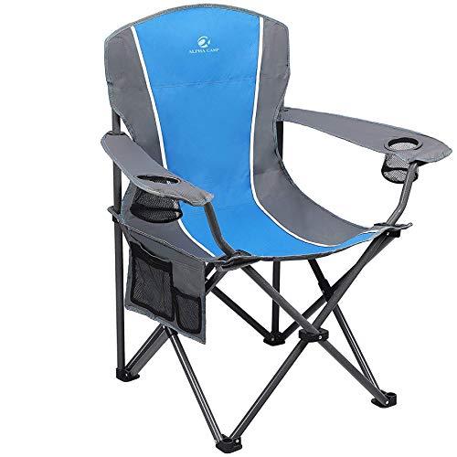 ALPHA CAMP Camping Stuhl 150kg Anglerstuhl Faltstuhl Klappstuhl mit Armlehne und Getränkehalter praktisch robust leicht tragbar (Blau/Grau)