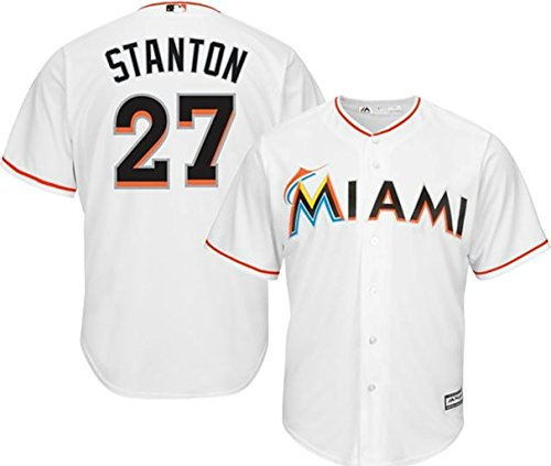 VF Miami Marlins MLB Mens Majestic Giancarlo Stanton Cool Base Replica Player Jersey White Big & Tall Sizes (3XT)