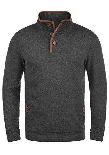 Blend Achlias Felpa Maglione Pullover Da Uomo Con Collo Alto Buttoni E Taschino, taglia:L, colore:Charcoal (70818)