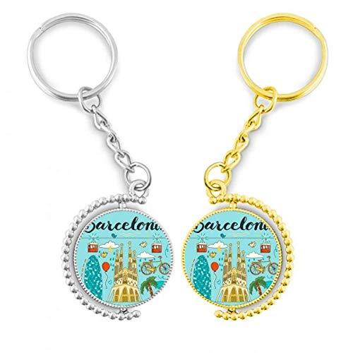 DIYthinker Barcelona Español Sagrada Familia el anillo de metal dorado llavero llaves de la llave