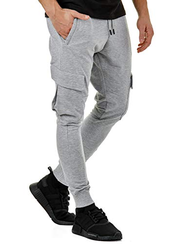 Burocs EightyFive Herren Jogginghose Sweatpants Zipper Gesteppt Schwarz Weiß Grau 305, Größe:L, Farbe:Cargo Grau