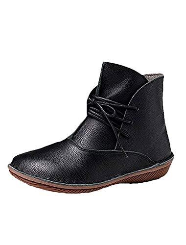 Vogstyle Damen Leder Stiefel New Flache Schuhe Art 1 Schwarz EU40/CH41