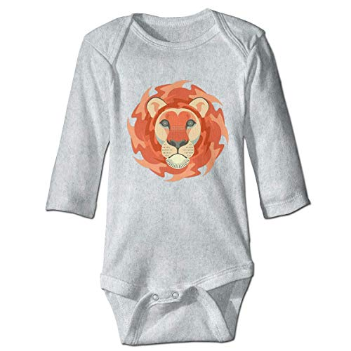 maichengxuan Mameluco Bebé Paller Lion Face Recién Nacido Bebé Niño Bebé Niñas Niños Mameluco Bebé Manga Larga 0-24 Months Gray