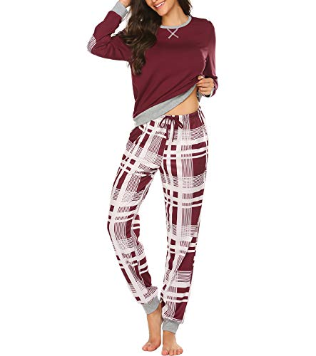 Pyjama Damen Winter Schlafanzug Lang Set Zweiteiliger Sleepwear Langarm Nachtwäsche Lang Hausanzug mit Karierte Hose Herbst Rot für Frauen XL