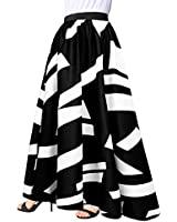 Afibi Women Chiffon Mopping Floor Length Big Hem Solid Beach High-Waist Maxi Skirt (XX-Large, Black 3)