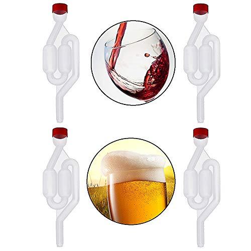 Gurxi Fermentación de Cerveza de Plástico Válvula de Fermentación Tapón de Fermentación para la Fermentación Secundaria de Cerveza de Vino Fermentada con Jugo Puro y Vino Tinto 4 Piezas (Transparente)