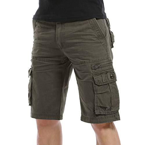 Yidarton Cargo Shorts Herren Kurze Hosen Outdoor Casual Cargo Bermudas Sommer Unifarben/Camouflage (ohne Gürtel), XXL-CN 42, Style1-light Army Grün