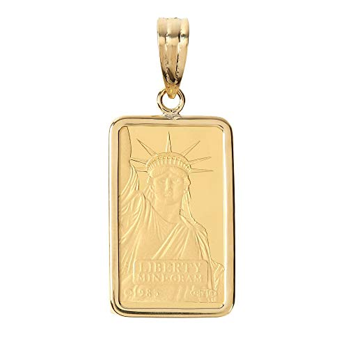 [ハッピーグッツショップ] 純金 K24 コイン 2g ペンダントトップ リバティ自由の女神 シンプル K18 枠 メンズ レディース 首飾り ネックレス ヘッド チャーム