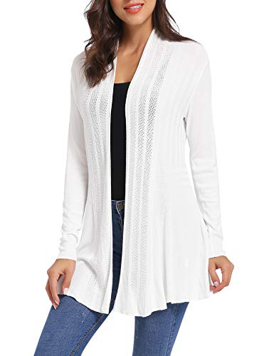 iClosam Women Casual Cardigan Knitted Open Front Long Sleeve Mid-Length Warm Cardigan Sweater, White, XL