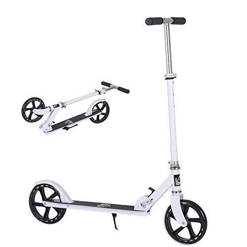 HOMCOM Patinete Plegable para Niños de +5 Años Scooter Infantil Manillar Ajustable en Altura de 4 Niveles con Freno 88x37x75-100 cm Blanco