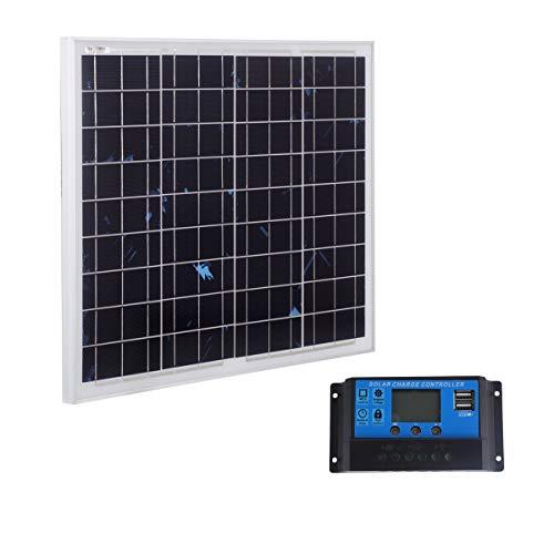 Betop-camp Pannello Solare Policristallino da 50W 12V con Linea MC4 da 90cm per Camper,Barca + Caricabatterie Solare da 20A