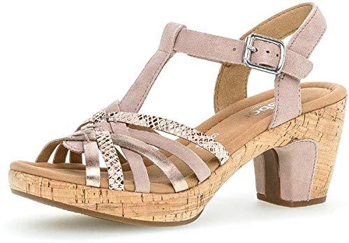 Gabor Mujer Sandalias de Vestir, señora Sandalia tacón,Zapatos de Verano,Zapatos de tacón Abierto,tacón Alto,Femenino,a-Rosa/Rame(Kork),39 EU / 6 UK