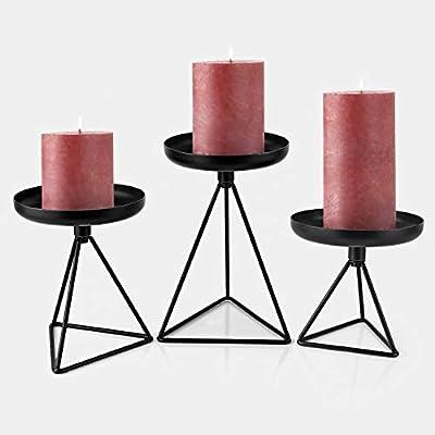 "Bikoney Candle Holder for Home Decor Candleholder for Pillar Candle Metal Geometric Candlesticks Set of 3 Black 7.25"", 5.5"", 4.5"""