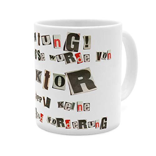 printplanet Tasse mit Namen Viktor - Motiv Ausgeschnittene Buchstaben - Namenstasse, Kaffeebecher, Mug, Becher, Kaffeetasse - Farbe Weiß