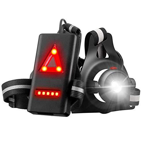 Naispanda Lauflicht, Wiederaufladbare USB LED Lauflampe Outdoor Sport, Wasserdicht Leichtgewichts Lampe zum Laufen, 90° Einstellbarer Abstrahlwinkel, perfektes Licht zum Joggen, Angeln, Campen