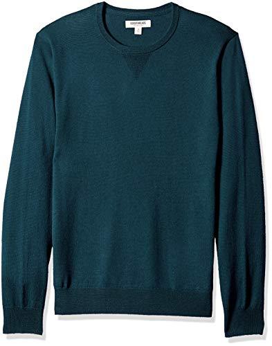 Amazon Brand - Goodthreads, maglione girocollo da uomo in lana merino, Color tè blu intenso, US S (EU S)