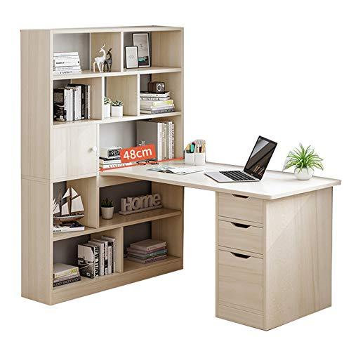 Desk L-förmiger Eckschreibtisch aus Holz, EIN Desktop-Computertisch Mit 3 Schubladen und 5 Regalen, Moderner Heimspiel-Spieltisch, PC-Laptop-Bürostation