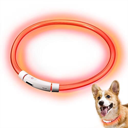 RYMALL Hunde Leuchthalsband LED, Hundehalsband Leuchtband Leuchtschlauch Blink Hundehalsband 60cm, Aden per USB, 3 Modell Blink, von Fashion&Cool (Orange)
