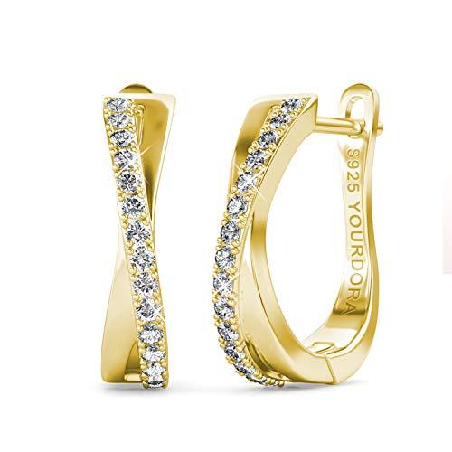 YOURDORA Pendientes Aro Retorcido de Plata de ley 925 para Mujer con Circonia Cúbica de Swarovski Joyas Regalos Originales (Oro Amarillo)