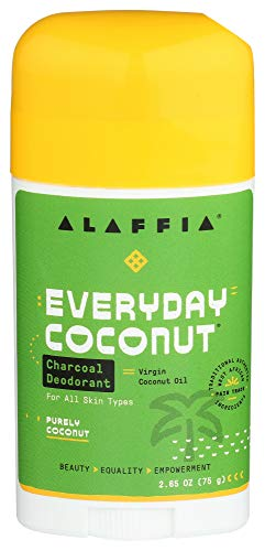Alaffia EveryDay Coconut Charcoal Natural Deodorant - Activated Charcoal, Odor Protection and Soothing Support from Shea Butter and Aloe Vera, Without Aluminum, Sulfates, or Parabens, 2.65 Ounces