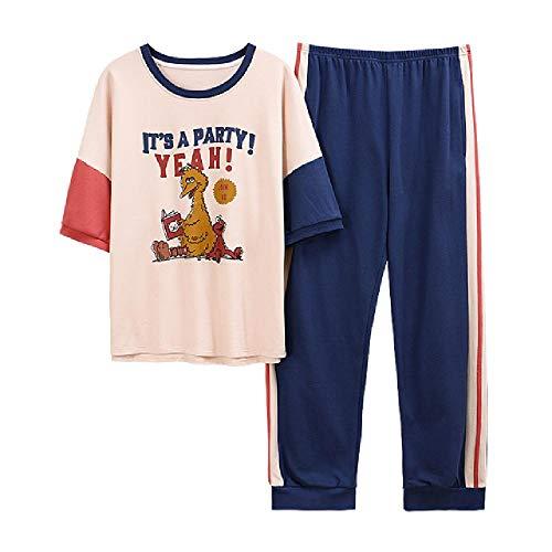 Rundhalsausschnitt Cartoon Printing Homeclothes Set Damenbekleidung Pyjamas für Damen Kurzarm Langhose Nachtwäsche