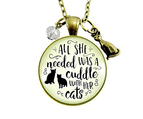 "Gutsy Goodness 36"" Cats Necklace She Needed Cuddle Kitty Theme Novelty Gift Womens Jewelry"
