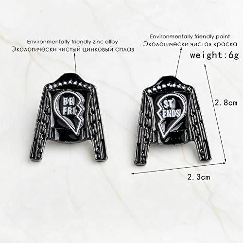 JTXZD Brosche 2 Schmuckstücke Schwarze Lederjacke mit Emaille-Kontakten des besten Freundes Mischen und Zusammenpassen von Kontakten Freundschaft