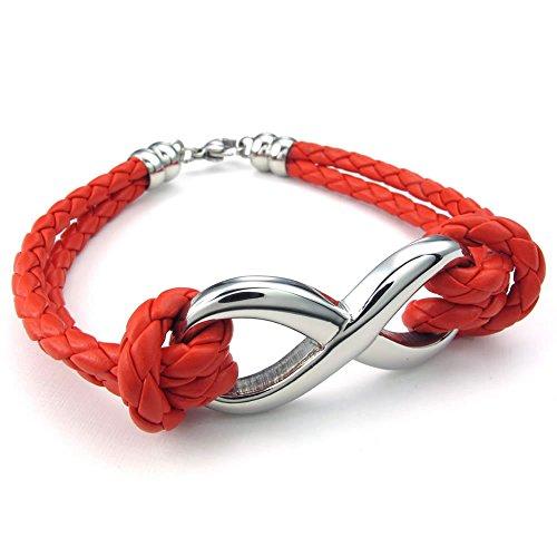 Konov - Pulsera para mujer, abalorio Infinito, de cuero con acero inoxidable, color rojo plateado (con bolsa de regalo)