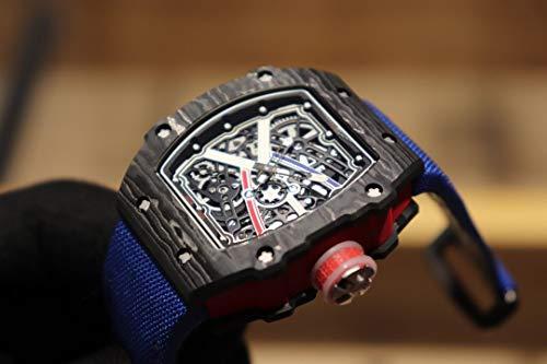 JFfactory Luxury Men Orologio Meccanico Automatico con Cinturino in Tela Blu Tourbillion Limited Sapphire Black Carbon Fiber Swing 28800