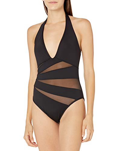 Kenneth Cole New York Women's Standard Halter Mio One Piece Swimsuit, Black//Sheer Confidence, S