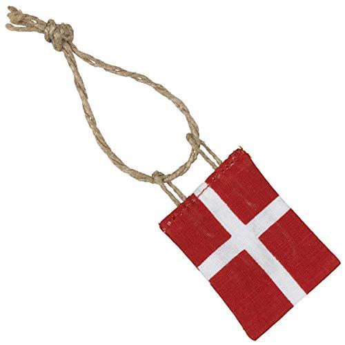 Ib Laursen - Christbaumschmuck, Baumschmuck - Danebrog - Dänische Flagge - (LxB): 4 x 3 cm