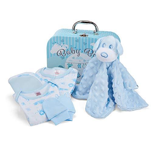 Baby Geschenk Baby Junge mit Baby Erstausstattung Junge, Neugeborenen Set Junge einschließlich Bettdecke, Body, Schlafanzug, Lätzchen aus Baumwolle und Fäustlinge
