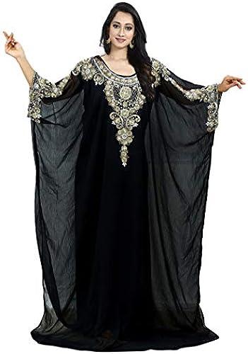 The Fabrics Station  Middle East Bollywood Style handgefertigter Designer Kaftan Farasha Jalabiya Kleid Abaya Casual für Party Events, Abendmode, EinheitsGröße - Design Nr 13