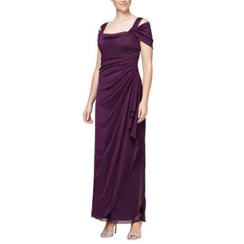 Alex Evenings Women's Long Cold Shoulder Dress (Petite and Regular Sizes), Plum Glitter, 8